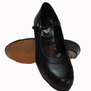 Chaussure de flamenco en cuir noir