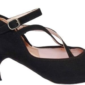 Chaussure de Flamenco en daim noir 3 brides