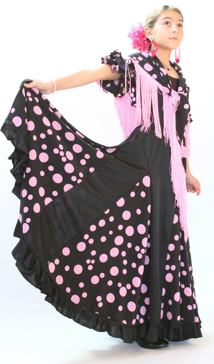 jupe flamenco fillette  noir a pois rose