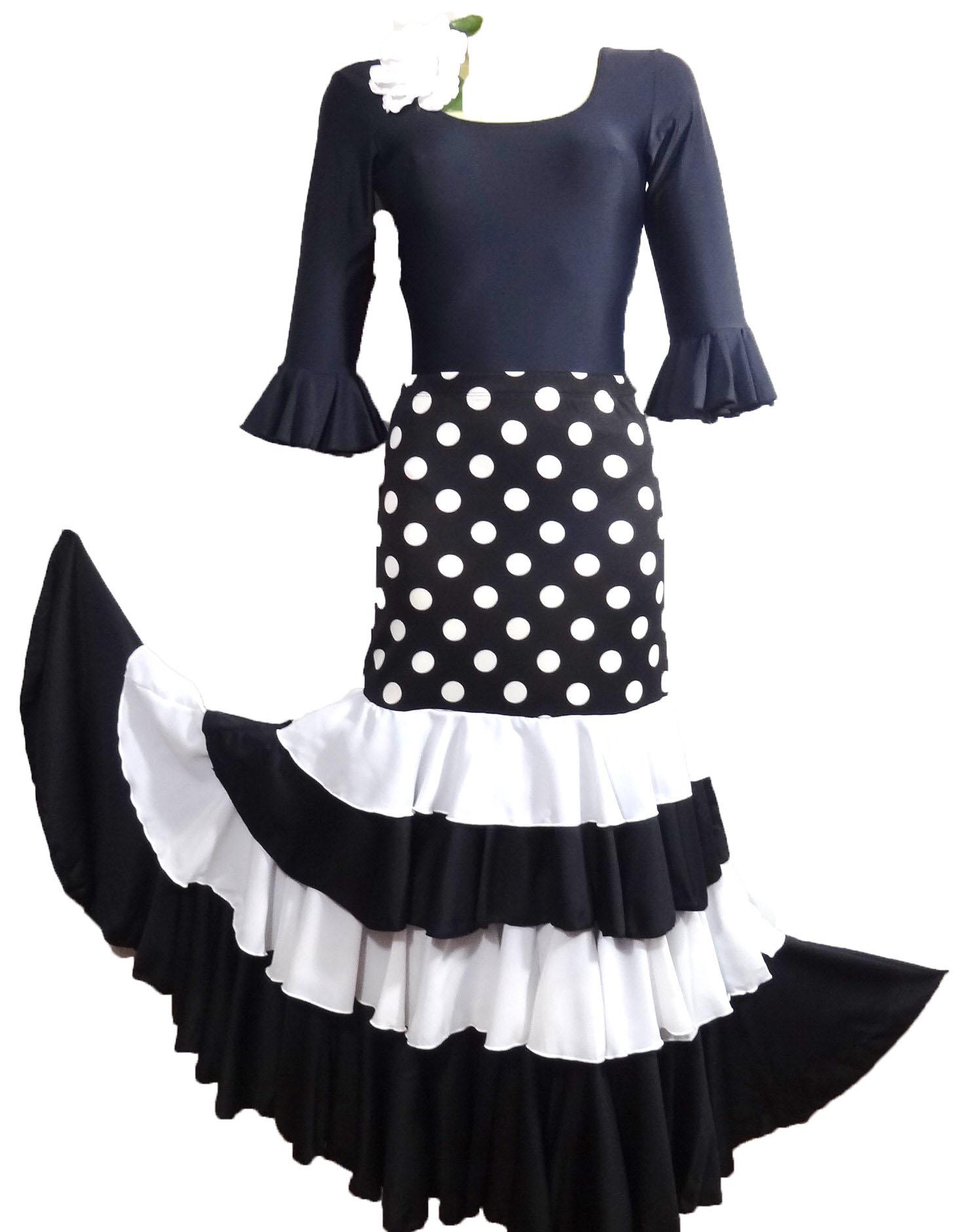 jupe flamenco noir a pois blanc et volants noir et blanc pimiento salsa. Black Bedroom Furniture Sets. Home Design Ideas