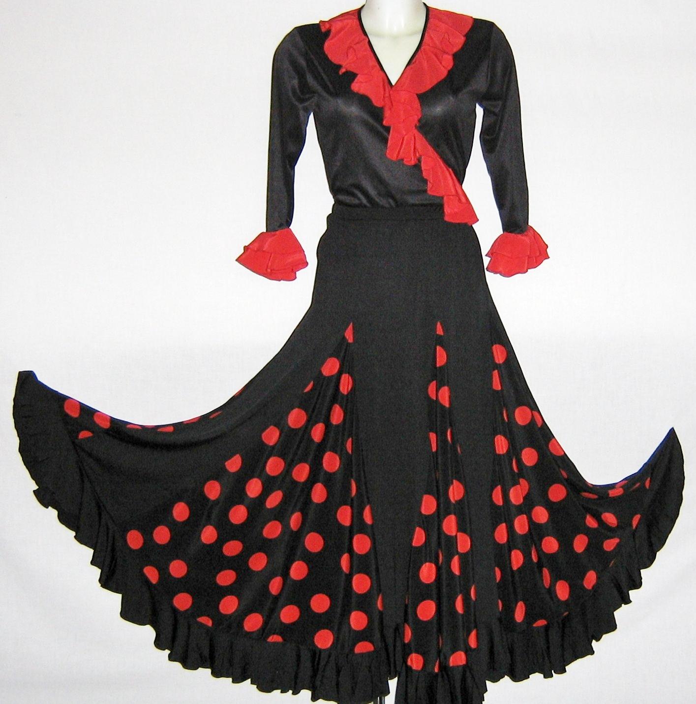 jupe femme flamenco noir a pois rouge 1 volants