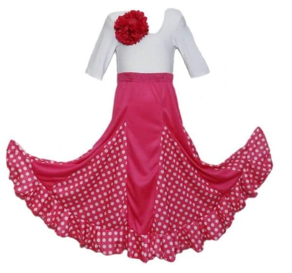 jupe de flamenco fillette rose